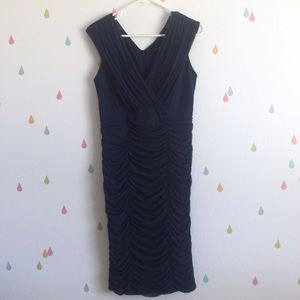 Tadashi Shoji Sexy Navy Blue Ruched Shirred Dress